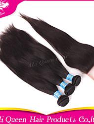 6a cheveux péruvien d'Ali produits capillaires queen droite avec 1pcs 4 * 4 suisses fermetures de dentelle 100% de cheveux humains