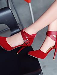 Chaussures Femme - Bureau & Travail / Décontracté / Habillé - Noir / Rouge / Amande - Talon Aiguille - Talons / Bout Pointu - Talons -