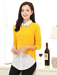 Women's Blue/Black/Yellow Blouse , Casual Long Sleeve