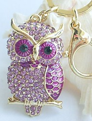 Charming Bird Owl Key Chain With Purple Rhinestone Crystals