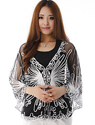 Hoods & Ponchos Capes Half-Sleeve Polyester Fashion Thin Capes White/Almond