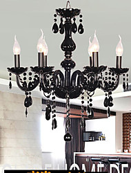 Chandelier Black Crystal Luxury Modern 6 Lights