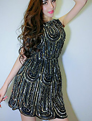 Clubwear Dresses Women's Sequined Sequins 1 Piece Black