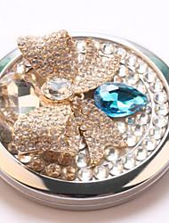 saffier boog pocket make-up spiegel cosmetische kant draagbare miroir espelho espejo de maquiagem bolso maquillaje bling