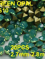 SS10 20pcs/lot 2.7mm-2.8mm 3D Rhinestones Decoration Green Color Opal Rhinestone Golden Point Back Nail for Dress