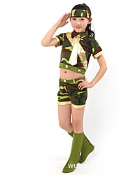 Performance Outfits Children's Performance Polyester Camouflage Outfit Green Kids Dance Costumes