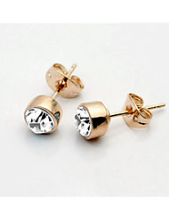 T&C Women's Concise Clear Crystal Stud Earrings 18K Rose Gold Plated Jewelry with Austrian Crystal