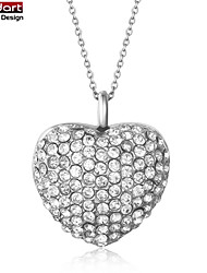 316L Stainless Steel Hollow Heart Two-sided Pendant with Clear CZ Stones Set with Steel Chain Necklace for Women