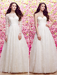 Lan Ting A-line/Princess Wedding Dress - Ivory Sweep/Brush Train Scoop Lace / Tulle