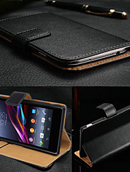 BIG D Black Genuine Leather Flip Full Body Case for Sony Xperia Z3