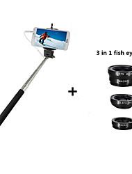 verdrahtete Steuer erweiterbar Selbstbildnis Selbstauslöser Einbeinstativ + 3 in 1 Fischauge-Objektiv für iPhone / Samsung / Blackberry /