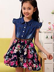 Girl's Summer/Spring/Fall Micro-elastic Medium Sleeveless Dresses (Cotton/Denim)