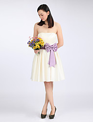A-line Strapless Knee-length Satin Bridesmaid Dress