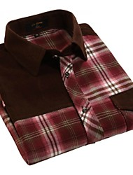 U&Shark Men's 100% Cotton Sanded Soft Business Long Sleeve Shirt with Stitching Red Checks/MMPG09