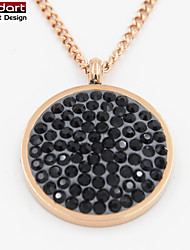 316L Stainless Steel IP Rose Gold Pendant with Black Crystals Set With Steel Chain Necklace for Women