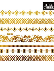 1Pc Gold and Black Long Bracelet Tattoo Sticker 15x11.5CM