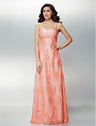 Formal Evening Dress - Pearl Pink Plus Sizes / Petite Sheath/Column Spaghetti Straps Floor-length Lace