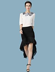 Women's Sexy Casual Cute Party Plus Sizes Inelastic Sheer Asymmetrical Skirts (Chiffon)