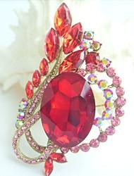 Women Accessories Art Deco Gold-tone Red Rhinestone Crystal Flower Brooch Bouquet Crystal Scarf Brooch Pin