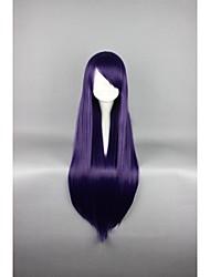 promoção de alta qualidade peruca roxa escura 80 cm de comprimento peruca cosplay reta anime peruca