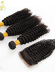 3 Bundles Malaysian Kinky Curly Virgin Hair With Closure Unprocessed Human Hair Weave And Free/Middle Part Lace Closures