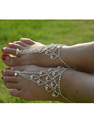 Rhinestone Barefoot Sandals, Toe Ring Anklets, Wedding Anklets, Foot Jewelry, Yoga Anklets (1PC)