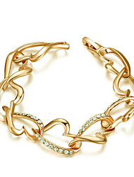 T&C Women's Lovely Heart-Link Bracelet 18K Yellow Gold Plated Use Clear Crystal Cute Heart Link Bracelet