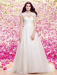 Lanting novia Lanting una línea de vestido de novia / princesa - marfil novia de tren de la corte del cordón / tul