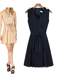 Morefeel Women's Casual Round Sleeveless Dresses (Chiffon)