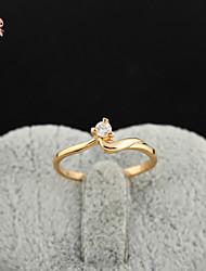 KuNiu Women's High Quality Classic 18K Gold Plated White Zircon Wedding Rings J0313