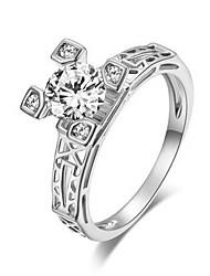 T&C Women's Eiffel Tower Design 18K White Gold Plated Romantic Zirconia Diamond Finger Rings