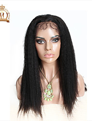 "10""-26"" Glueless Lace Front Wig Kinky Straight Peruvian Virgin Hair Color Natural Black Baby Hair for Black Women"
