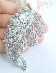Wedding Accessories Wedding Deco Silver-tone Clear Rhinestone Crystal Bridal Brooch Bridal Bouquet Leaf Wedding Brooch