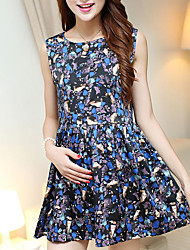 Maternity Fashion Gemstones Print Cute Sleeveless Dress