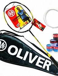Men/Unisex/Women/Kids Badminton Rackets Low Windage/High Elasticity/Durable Yellow 1 Piece Carbon Fiber