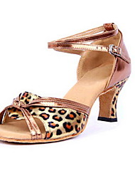 Women's Dance Shoes Latin  Chunky Heel Leopard