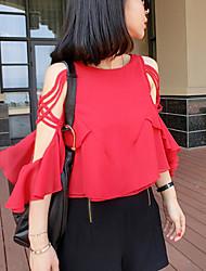 T-Shirts ( Chiffon ) MULHERES - Casual Redondo - Manga Curta