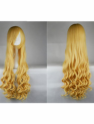Hot Sale 40 Inches High Temperature Fiber Long Curly  Golden Yellow Cosplay Costume Wig Side Bang