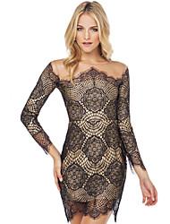 Women's Vintage/Bodycon/Lace Bateau Long Sleeve Dresses (Lace)