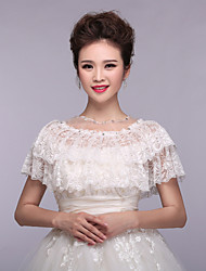 Wedding Wraps Capelets Lace/Polyester Fashion Pleated Wraps White