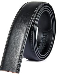 Fondsun Mens Black Ratchet Belt Fashion Business Casual Style Genuine Leather No Buckle 3.5cm Width