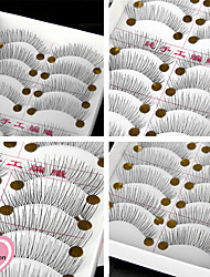 10Pairs Natural Long Black False Eyelash Eyelashes Handmade Individual Lashes Makeup Cotton Stalk Eyelashes Extensions