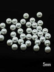 Pearl5mm 100pcs/lot 5mm Ladies Nail Art Pearls Decoration Round Shape Pearl Beads Solid White Color Nail Art