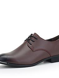 Черный / Синий / Бордовый Мужская обувь Для офиса / На каждый день / Для вечеринки / ужина Кожа Башмаки и босоножки