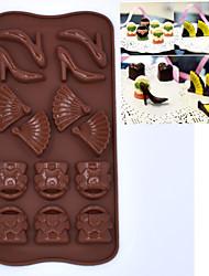 14 trous avec moule en silicone au four un gâteau au chocolat moule en silicone (chaussures à talons hauts, ventilateurs, sacs)