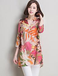 Women's Print Green/Orange Shirt , Casual V Neck ¾ Sleeve Flower