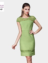 MILANLISA®Women's 2015 New Women's Original High-end Heavy Embroidered Stitching Dress