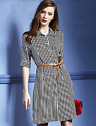 Women's Work ½ Length Sleeve Stripe Dresses (Cotton)