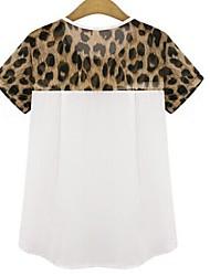 Damen Leopard / Patchwork Einfach Lässig/Alltäglich T-shirt,Rundhalsausschnitt Frühling Kurzarm Weiß / Schwarz Baumwolle Dünn