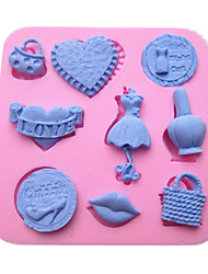 Lady Women Fashion Dress Hanger Makeup Bag Fondant Cake Molds Chocolate Mould For The Kitchen Baking